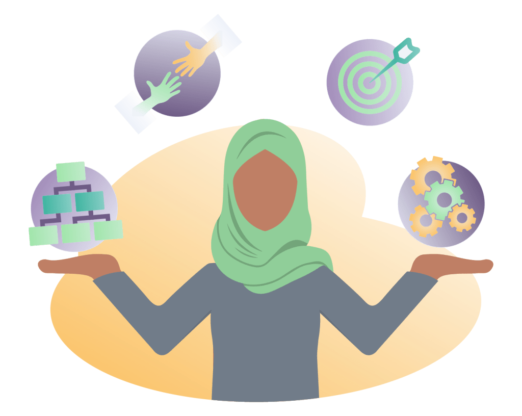 Illustration of a feminine person of colour wearing a green hijab with a grey jumper and juggling team leading tasks