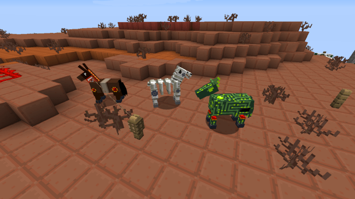 Skeleton and zombie horses are now properly textured. The skeleton horse is based off of Freeze Man's boss room.