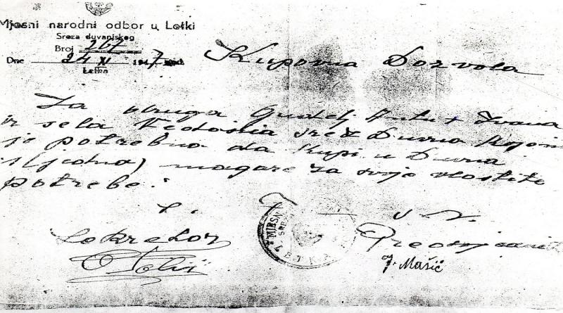 TOMISLAVGRAD SAČUVANO OD ZABORAVA: Kupovna dozvola iz 1947