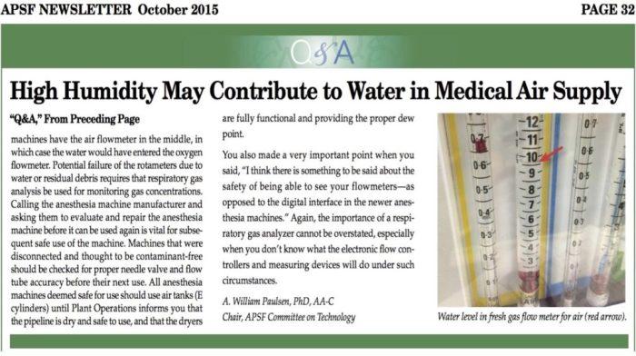 Water in medische perslucht, een bekend probleem!