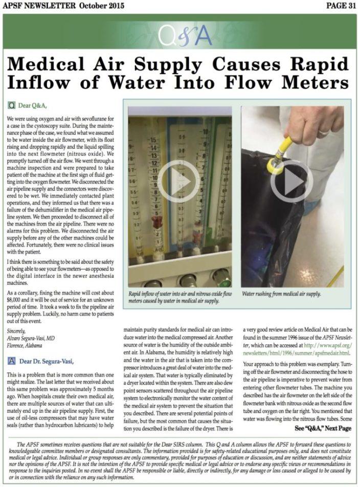 Water in de medische perslucht, een bekend probleem!