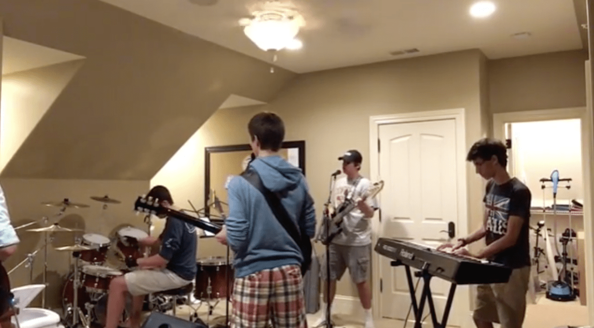 Blackjack, a band composed of four seniors and one junior, practice for a gig.