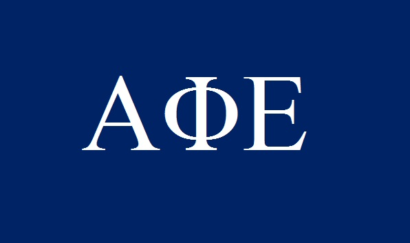 Fraternities and Sororities are named in Greek letters, such as Alpha Phi Epsilon, seen here.