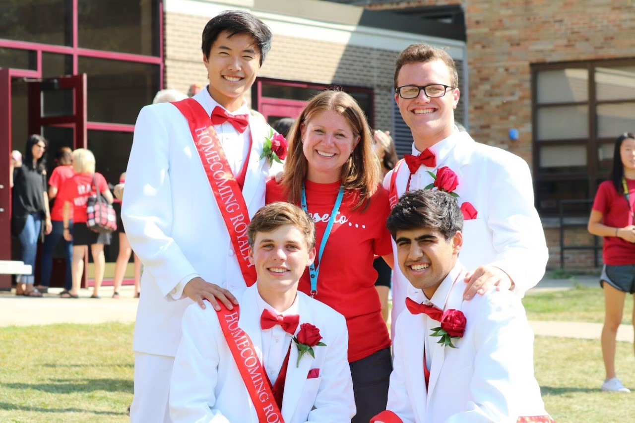 Homecoming court nominees pose with Activities Director, Mrs. Sally Phillip, on Sept. 15, the day before homecoming.