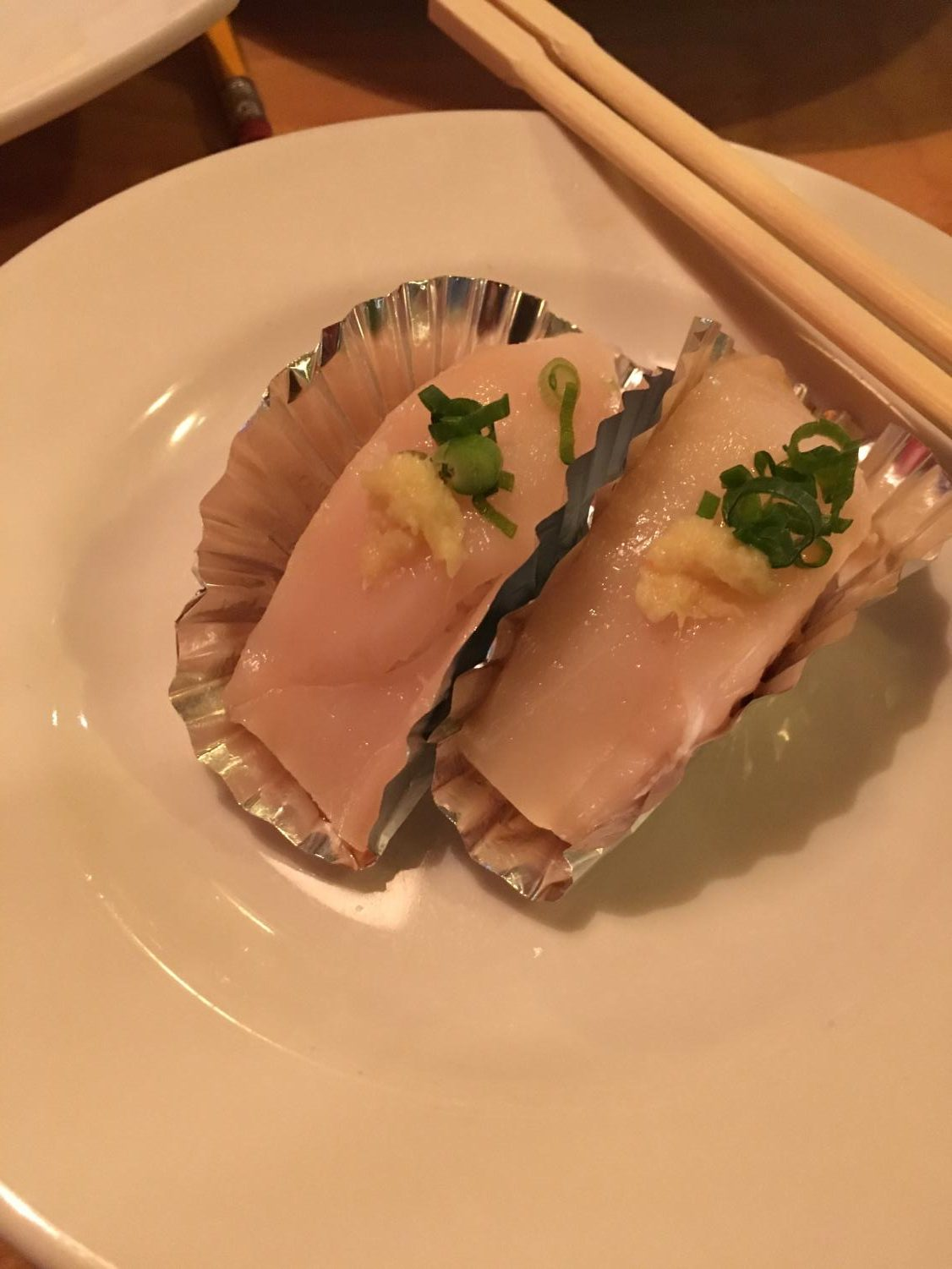 The super white tuna nigiri from Sushi House was buttery and  topped with a dab of ginger.