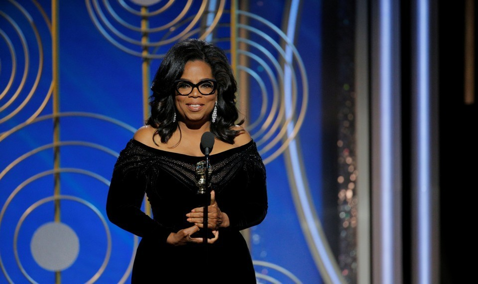Oprah presents her acceptance speech at the 75th Golden Globe Awards on Sunday, Jan. 7, which prompted many of her supporters and fans to encourage her to run for president.