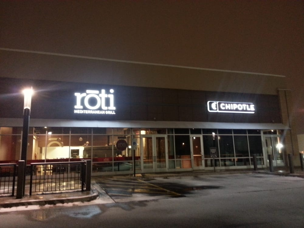 Roti is in between Chipotle and Urban Barbecue near Oak Brook Mall.