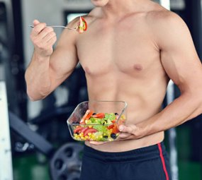 Man eating healthy food