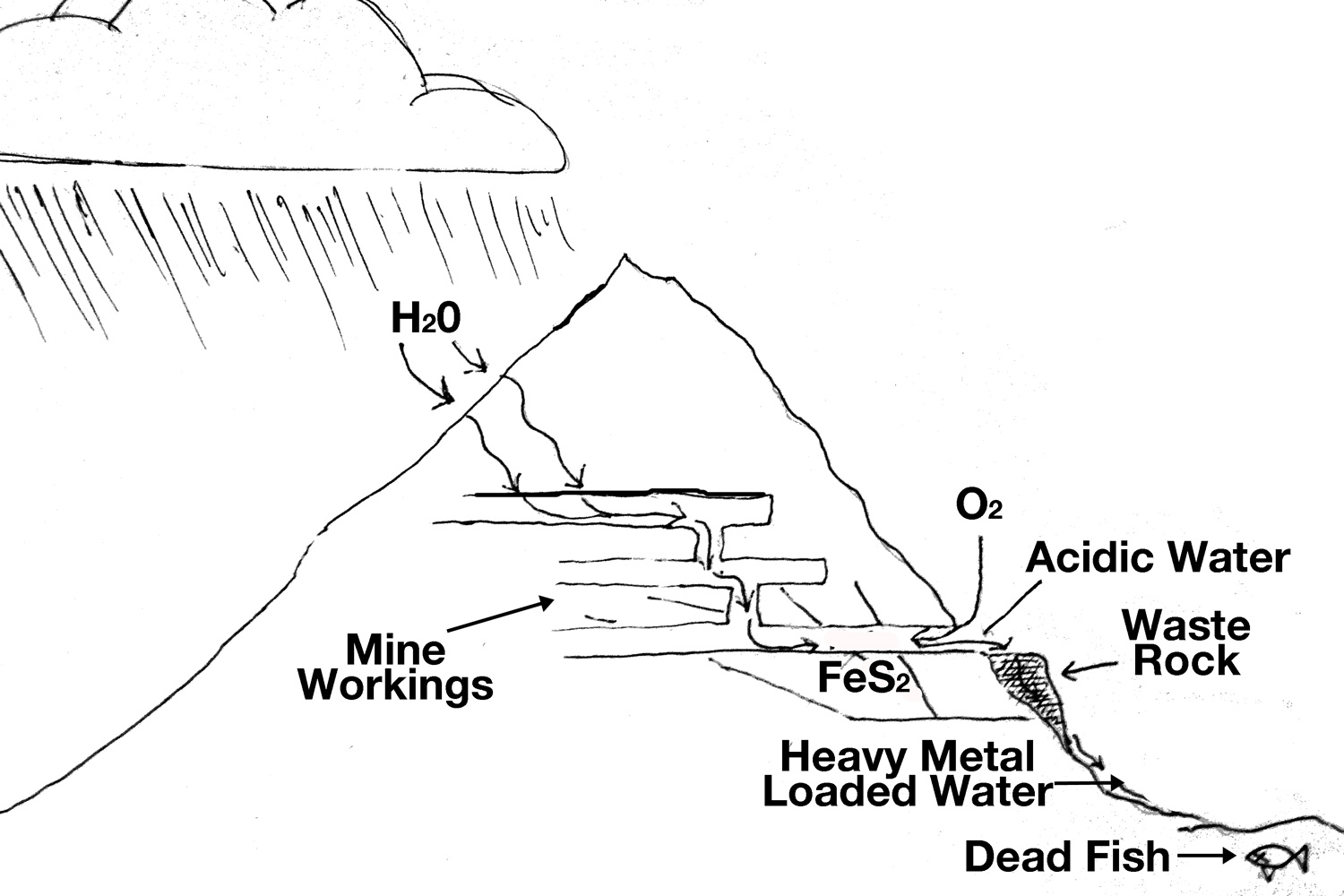 hight resolution of mine tunnels intercept groundwater and expose it to pyrite and oxygen setting up a chemical reaction that produces acid mine drainage