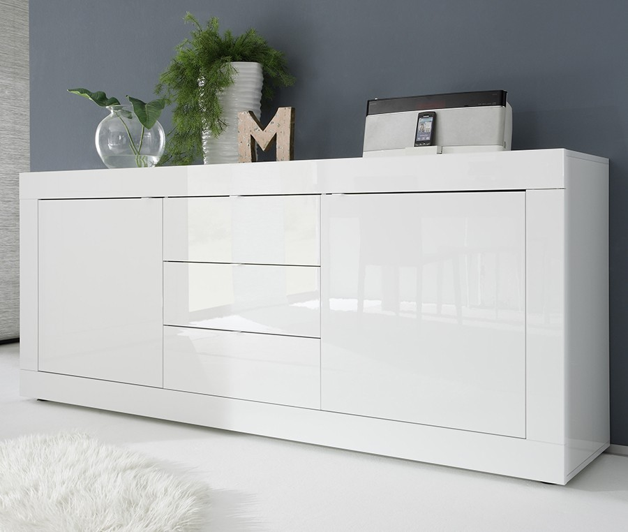 buffet bahut design laque blanc brillant focus 2 portes 3 tiroirs