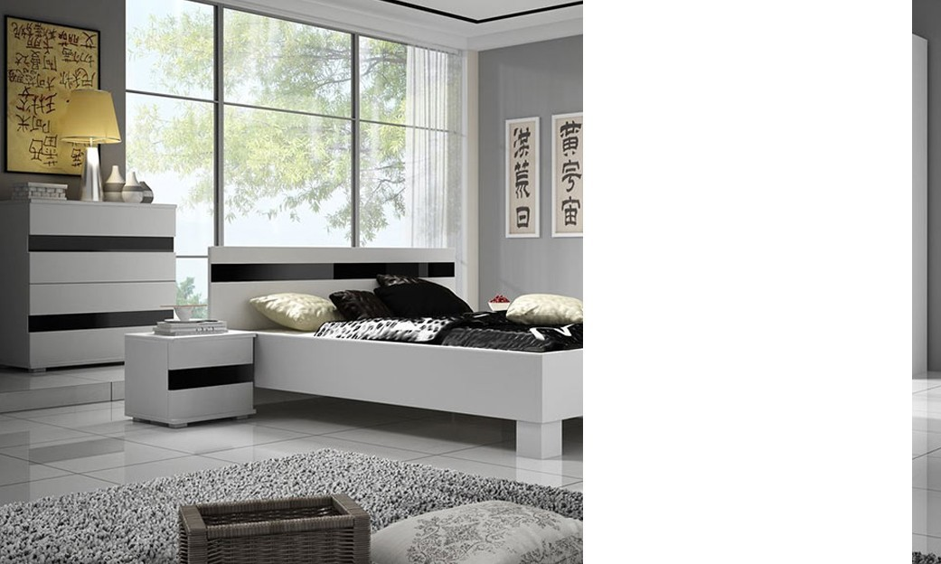 Chambre blanc laqu cheap chambre adulte complte design for Chambre adulte complete blanc
