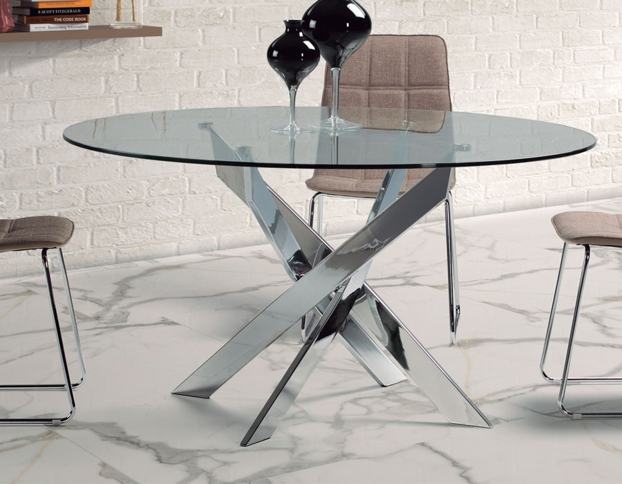 table a manger design ronde en verre et chrome ivar