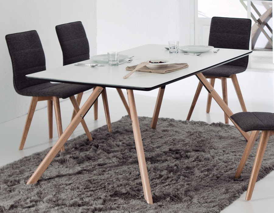 table a manger scandinave blanche et bois jared