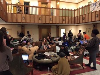 Students convene in the BB Dougherty Administration Building lobby to discuss ASU Chancellor Sheri Everts' statement on Tuesday night.