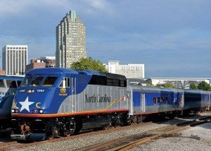 """The N.C. Department of Transportation passenger train """"City of Asheville,"""" sits on the tracks in Raleigh. But Asheville and other Western North Carolina communities are not currently served by passenger rail service. Courtesy of NCDOT."""
