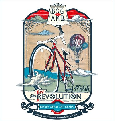 The final label for The 1st Revolution being brewed by AMB.