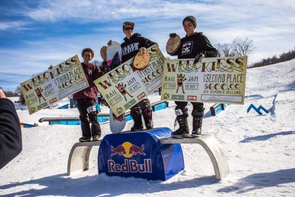 First place Zach Soderholm, second place Julien Passajou, third place Reilly Tardiff. Photo by Drew Fuller.