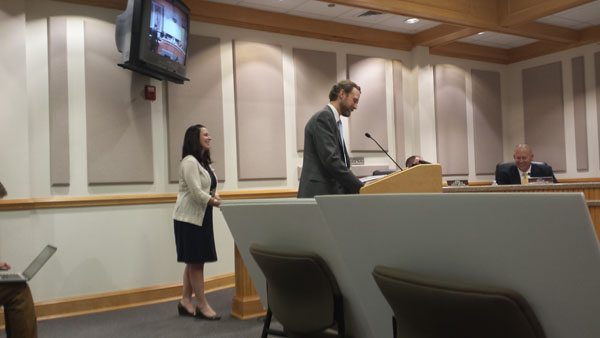 District Attorney Seth Banks speaking on behalf of county funding for drug treatment court. Photo by Jesse Wood