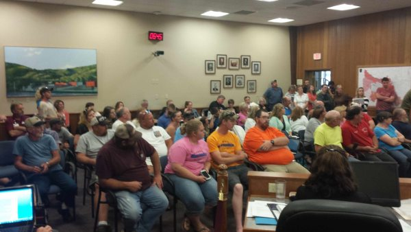 The packed Boone Town Council Chambers featured more supporters for the Mountain View Speedway than those in opposition.