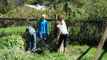 Students at Two Rivers Community School participate in the school's gardening program.