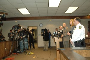 The press conference to announce criminal charges took place Wednesday evening. Photo by Jesse Wood