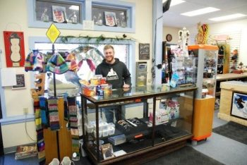 A Snow Toys employee is pictured inside the ski shop in Banner Elk.