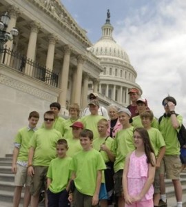 The North Wilkesboro Boy Scout Troop visits with Congresswoman Foxx on the capitol steps during their summer trip to Washington, D.C.