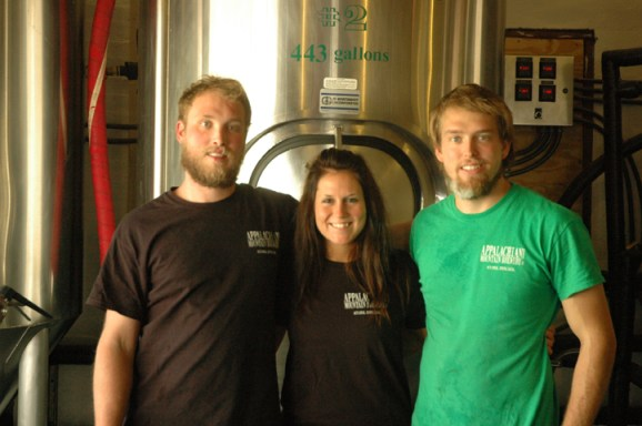 AMB Crew Brewmaster Nathan Kelischeck, PR Director Jessica Collins and Brewer Chris Zeiber