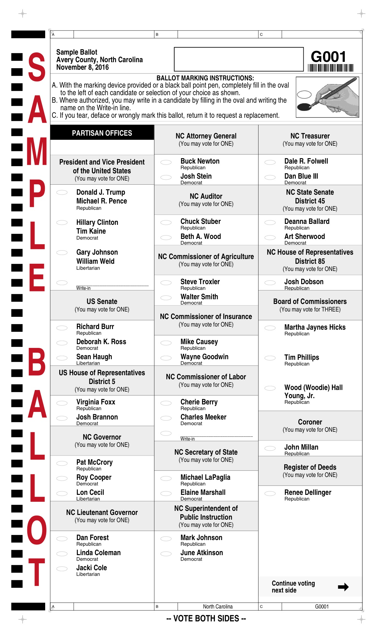 2016 General Election Sample Ballots for Avery and Watauga