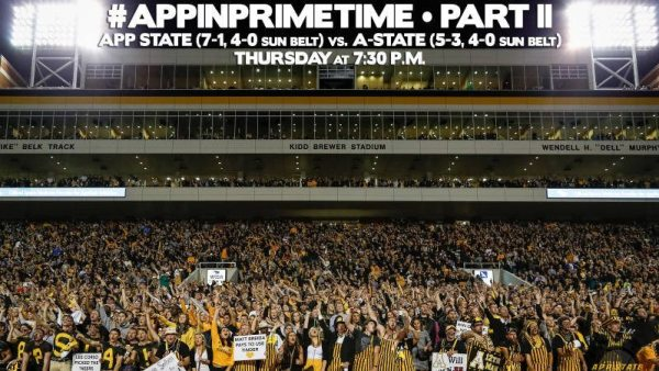 #AppInPrimetime returns to The Rock on Thursday when Appalachian State hosts Arkansas State for one of the biggest games in Sun Belt Conference history.  Courtesy: Will Phillips (Appalachian State Football Video)