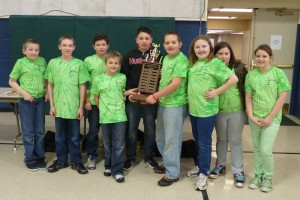 The championship Bethel Elementary blue team (don't let the green shirts fool you!)  for grades 4-5 includes (from left): Timmy Yates, Alex Greene, Jeffery Greene, Chris Presnell, Cyrus Martinez, Dalton Rominger, Jocelyn Viale, Alexis Hodges,  and Lily Trivette.