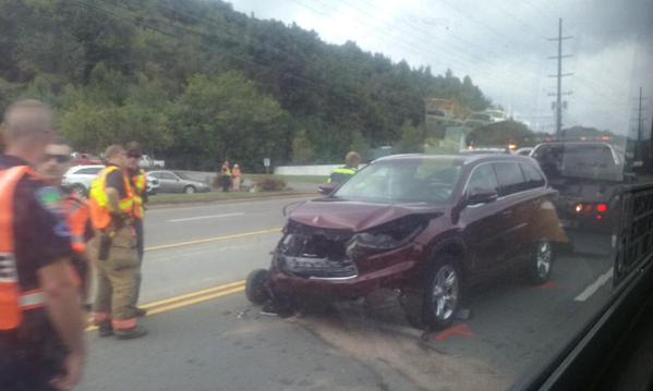 Twitter user Joey Langston posted this picture of the accident on social media.