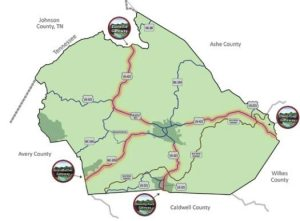 The four economic gateways designated in Watauga County.