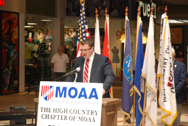 Seth Norris, chaplain of the High Country Chapter of the Military Officers Association of America and pastor at Perkinsvile Baptist Church, speaks before those gathered at the Boone Mall to celebrate Memorial Day.