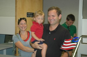 Mark Templeton with his family as he files for a seat on the Boone Town Council. By Jesse Wood