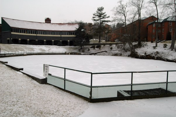 Duck Pond is frozen.