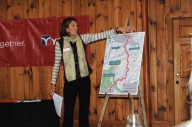 Ann Browning of the Middle Fork Greenway Association talks about the project at the press conference on Thursday.