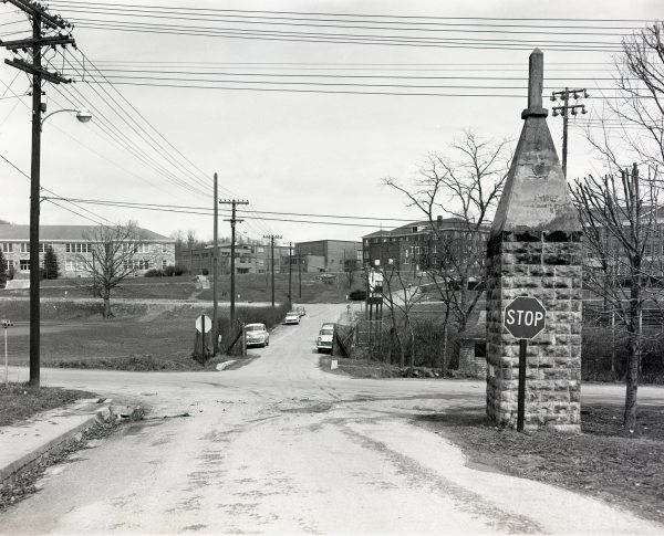 Vicinity of Car Accident at Intersection of Newland and Faculty Streets (now Tomlinson Park), ASTC Campus, Showing Daniel Boone Monument in Its Original Location, March 1957, Palmer Blair Collection, Digital Watauga Project.