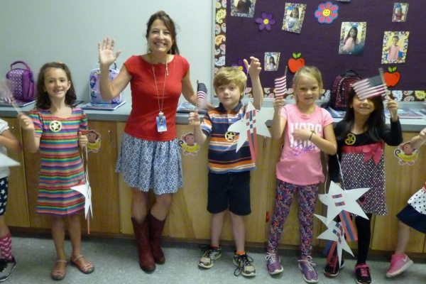 Amy Eberle and her first grade students joined in the celebration