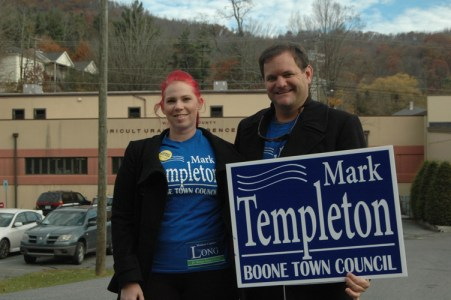 Mark Templeton and a supporter stand in front of the Watauga Agricultural Services Center, one of the polling precincts in Boone.