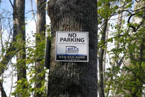 """No Parking"" signs along Old Shulls Mill Road - Photo by Ken Ketchie"