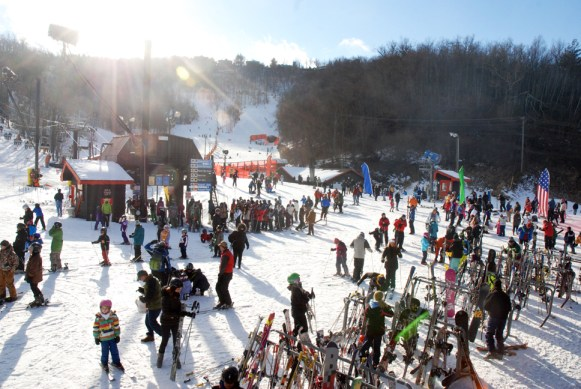Appalachian Ski Mountain on Sunday was packed with winter sport enthusiasts. Photo by Ken Ketchie