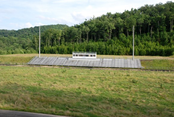 Only the bleachers remain on the property.