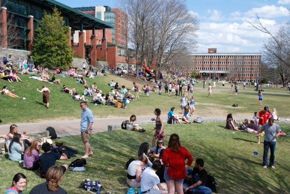 During warm weather, Sanford Mall on the campus of ASU is one of the more popular hangout spots.