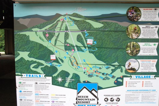 A map of the trails at Beech Mountain Resort. Photo by Ken Ketchie.