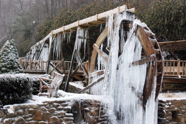 The water wheel on N.C. 105 should be frozen for a considerable length of time because of several days of below freezing temps. Photo by Ken Ketchie