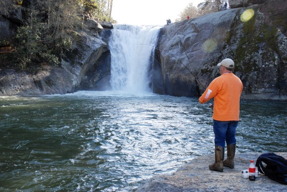 This weekend was an excellent day to spend outside and fish, such as this gentleman at Elk Falls.