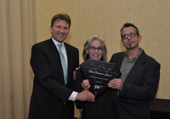 Wendy and Ken Gordon accept a Four Diamond rating on behalf of the Gamekeeper from AAA Carolinas Board Member Gregory Hildebran in Asheville on Jan. 7. 2016.