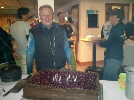 Gunther Jochl and his birthday cake after the week 3 of the SMARL races.