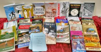 High Country Writers Books of the Year are displayed along with past recipients. Photo by Ree Strawsman.
